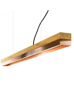 Suspension Design C1 Rectangular 122 cm cuivre et bois par Gant Light