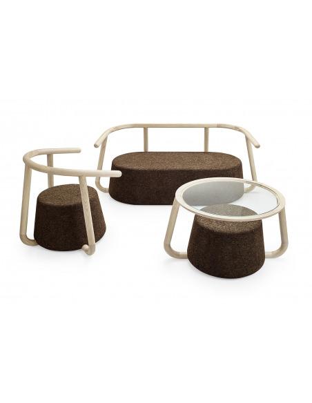 Table basse design Ypsilon en liège noir et bois