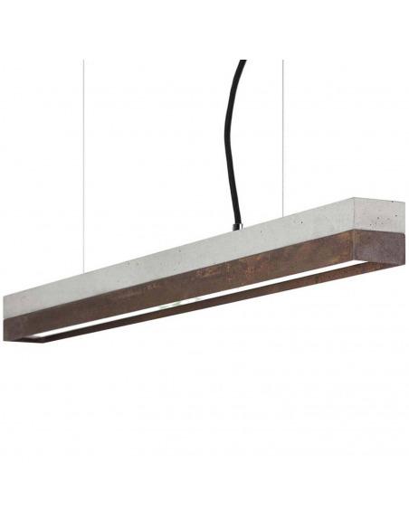 Suspension design C2 en béton et noyer 92 cm au design industriel et minimaliste par Gant Lights