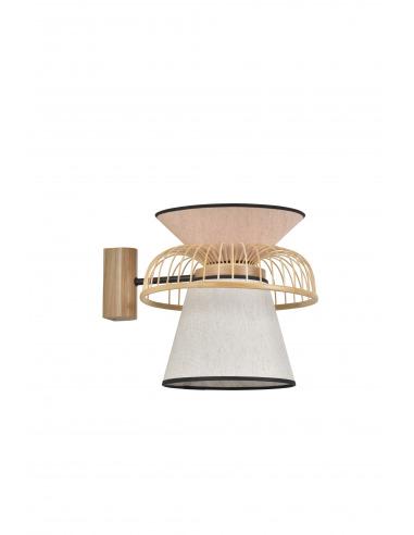 Applique Mekko GM blanc / rose en lin et couronne en bambou par Market Set