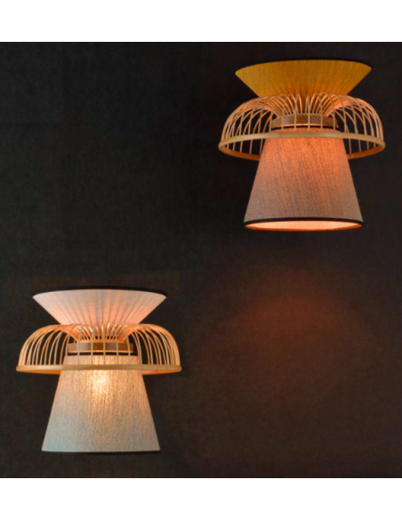 Applique Mekko GM riad / jaune en lin et couronne en bambou par Market Set
