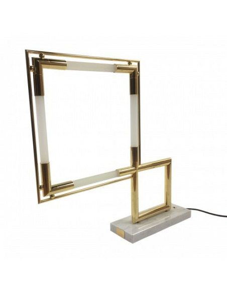 Lampe de table Quadro Led Limited Edition Gold par Jacques Adnet pour Lumen center Italia