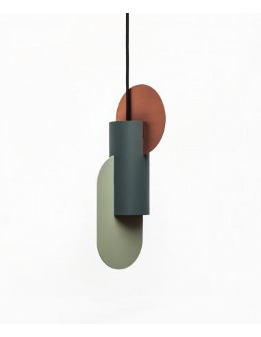 Suspension Suprematic Two CS1 en cuivre et acier peint au design contemporain par Kateryna Sokolova x Noom