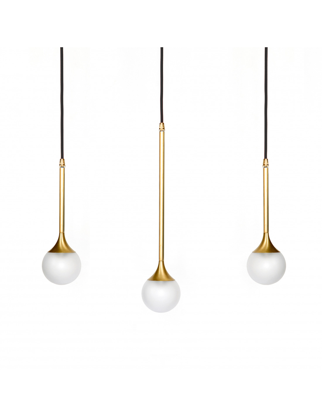 Suspension goutte d 39 eau bullarum ss 3 en laiton au design for Luminaire triple suspension