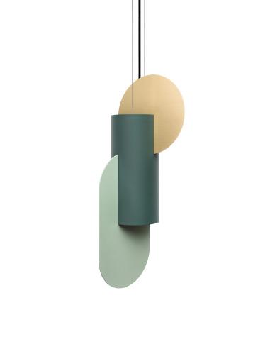 Suspension Suprematic two CS5 en laiton et acier peint au design contemporain par Kateryna Sokolova x Noom