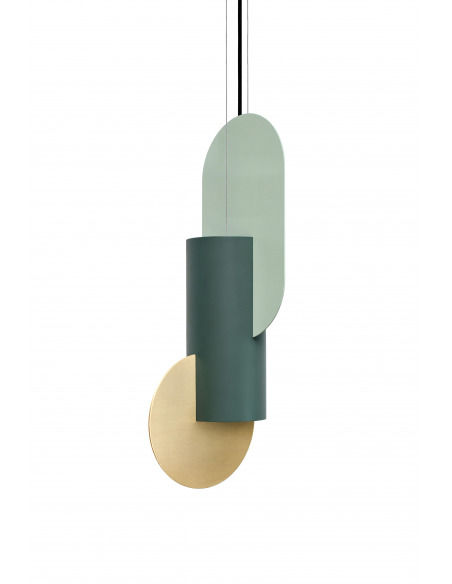 Suspension Suprematic one CS5 en laiton et acier peint au design contemporain par Kateryna Sokolova x Noom