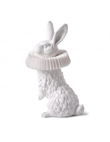 Lampe à poser Rabbit debout en résine blanche en forme de lapin par Haoshi