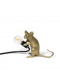 Lampe à poser en forme de souris Mouse assis en résine couleur or et fil noir par Seletti