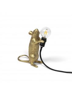 Lampe à poser en forme de souris Mouse debout en résine couleur or et fil noir par Seletti