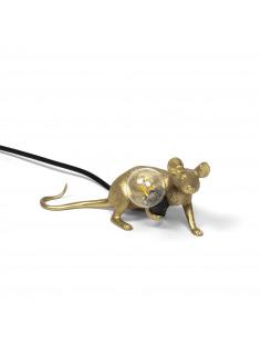 Lampe à poser en forme de souris Mouse couché en résine couleur or et fil noir par Seletti