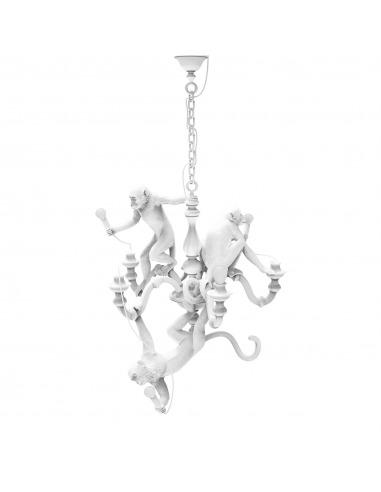 Suspension the Monkey Chandelier en résine blanc par Seletti x Marcantonio