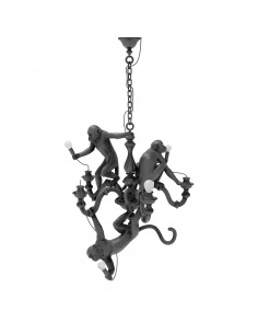 Suspension the Monkey Chandelier en résine noir par Seletti x Marcantonio