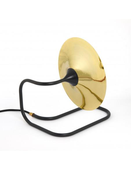 Lampe à poser / Applique Turbaya noir en laiton en forme de gramophone au design chic et élégant