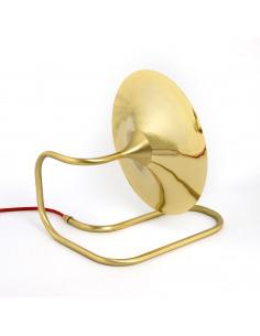 Lampe à poser / Applique Turbaya en laiton et fil rouge en forme de gramophone au design chic et élégant
