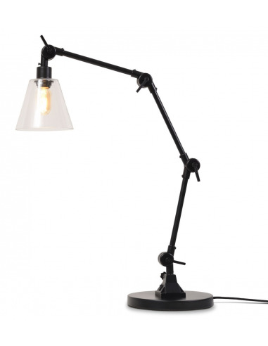 Lampe à poser Amsterdam en métal et abat jour en verre au design industriel par It's About Romi