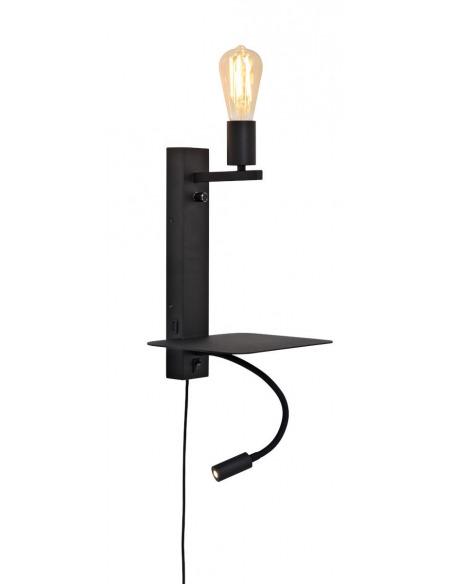 Applique murale étagère Florence avec chargeur USB et liseuse en métal au design naturel par It's About Romi