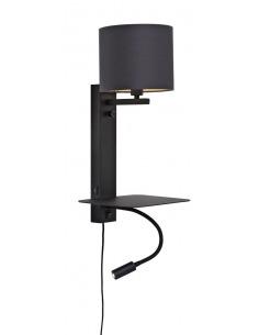 Applique murale étagère Florence avec abat-jour et chargeur USB et liseuse en métal au design naturel par It's About Romi