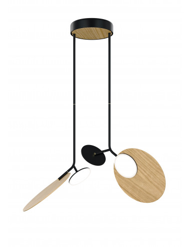 Suspension double Ballon noir LED au design scandinave par Tunto
