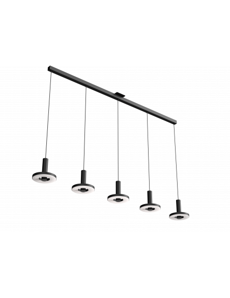 Suspension Beads in line 5 sources en aluminium au design industriel par Anton de Groof X Tonone