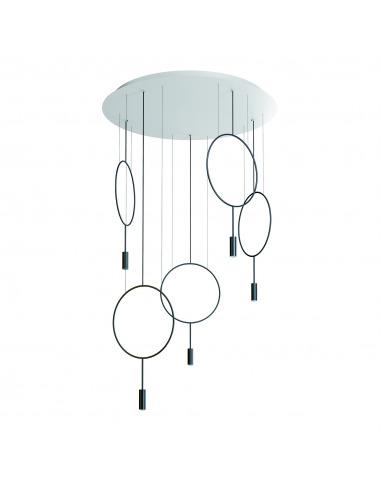 Suspension LED ronde - 5 arceaux Ø...
