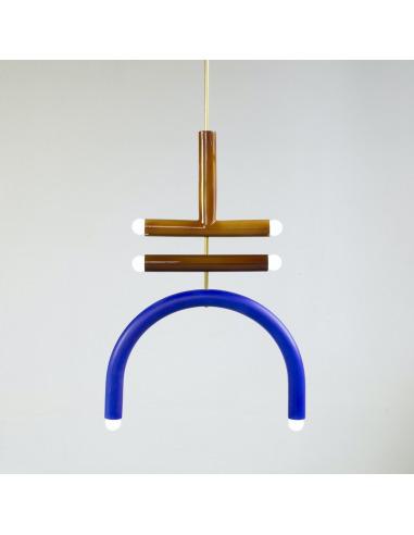 Suspension TRN light F2 en céramique et laiton par Magda Jurek