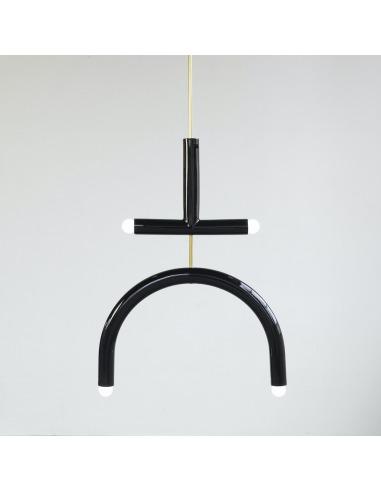 Suspension TRN light E2 en céramique et laiton par Magda Jurek x Pani Jurek