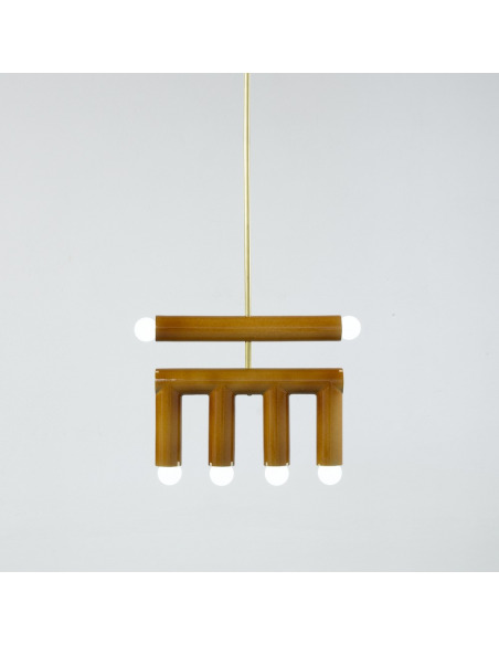 Suspension TRN light D2 en céramique et laiton par Magda Jurek