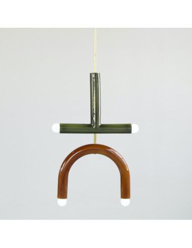 Suspension TRN light C2 en céramique et laiton par Magda Jurek
