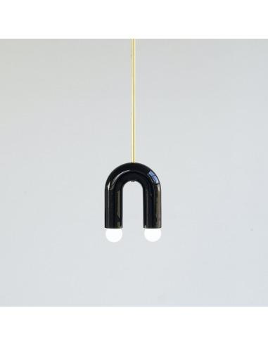 Suspension TRN light A1 en céramique et laiton par Magda Jurek