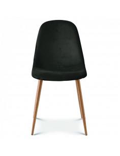 Chaise Amélie en velours avec piétement en bois au design scandinave