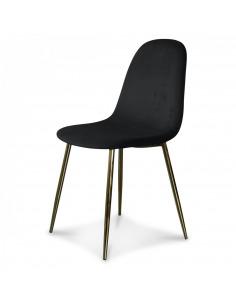 Chaise Amélie en velours avec piétement en métal doré chromé au design scandinave