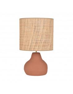 Lampe a poser Portinatx en céramique et abat-jour en bana et raphia par Market Set