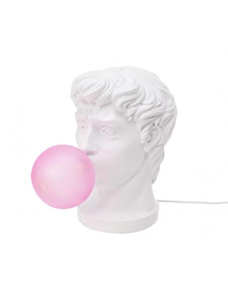 Lampe à poser Wonder en forme de tête de guerrier en résine blanche par UTO BALMORAL x Seletti