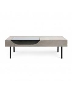 Table basse curb avec plateau en béton et piètement en acier au style industriel par Lyon Beton