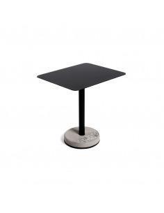 Table de bistro rectangulaire donut avec plateau en aluminium et pied en béton au style industriel par Lyon Beton