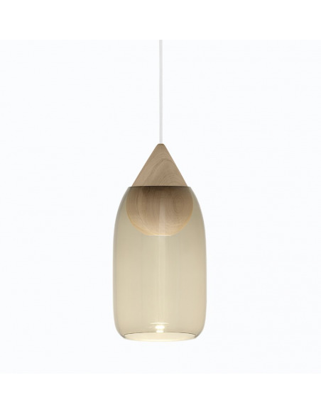 Suspension LED en bois Liuku Ball avec abat-jour en verre au design scandinave