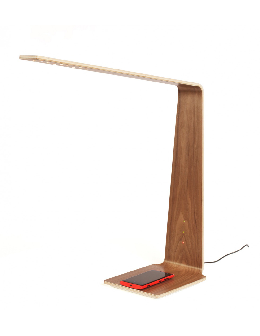 lampe poser tactile et station de charge pour smartphone en bois led 8 au design scandinave et. Black Bedroom Furniture Sets. Home Design Ideas