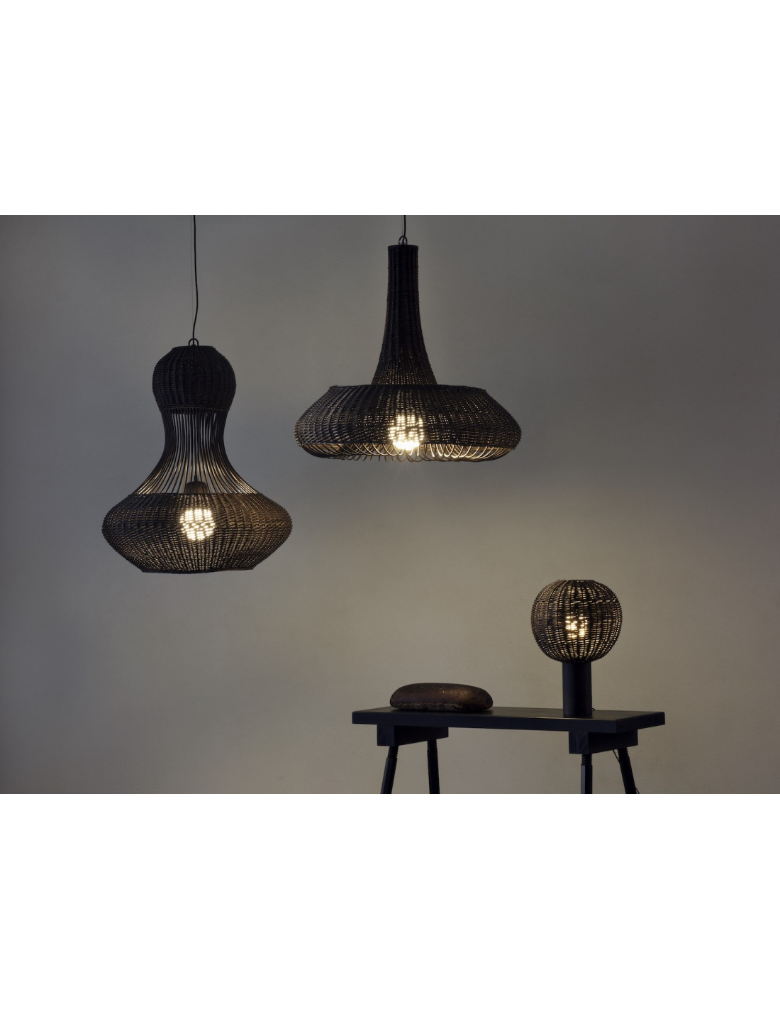 Suspension en osier light of nature 2 au design original otoko - Suspension en osier ...