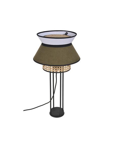 Lampe à poser Singapour Kaki / Blanc en cannage & lin Naturel par Market Set