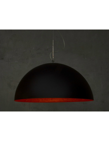 Suspension contemporaine Mezza luna lavagna Ø70cm avec effet tableau noir personnalisable