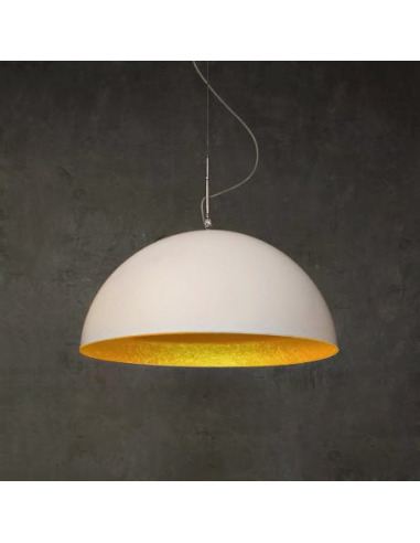 Suspension contemporaine mezza luna 70cm blanc moderne for Suspension contemporaine