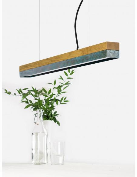 Suspension Design C2 cuivre oxydé et bois 92 cm par Gant Light
