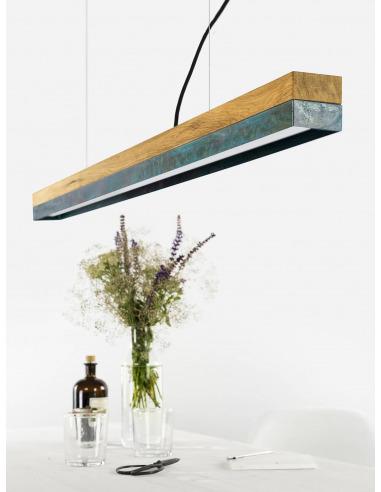 Suspension Design C1 cuivre oxydé et bois 122 cm par Gant Light