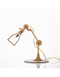 Lampe à poser 2D industriel 1 en bois