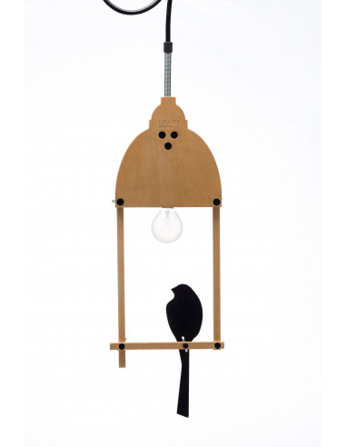 Suspension 2D Bird Lamp en bois avec jeux d'ombres et de lumière