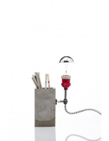 Lampe à poser / Porte-stylos Concrete Big industriel en béton