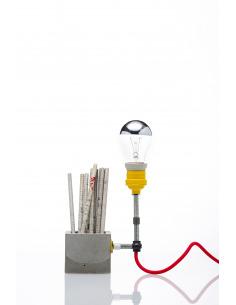 Lampe à poser / Porte-stylos Concrete Small industriel en béton