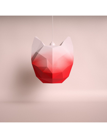 Suspension en papier rouge dégradé 3D Chat Large à monter soi-même