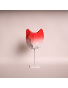 Lampe à poser en papier rouge dégradé 3D chat medium à monter soi-même