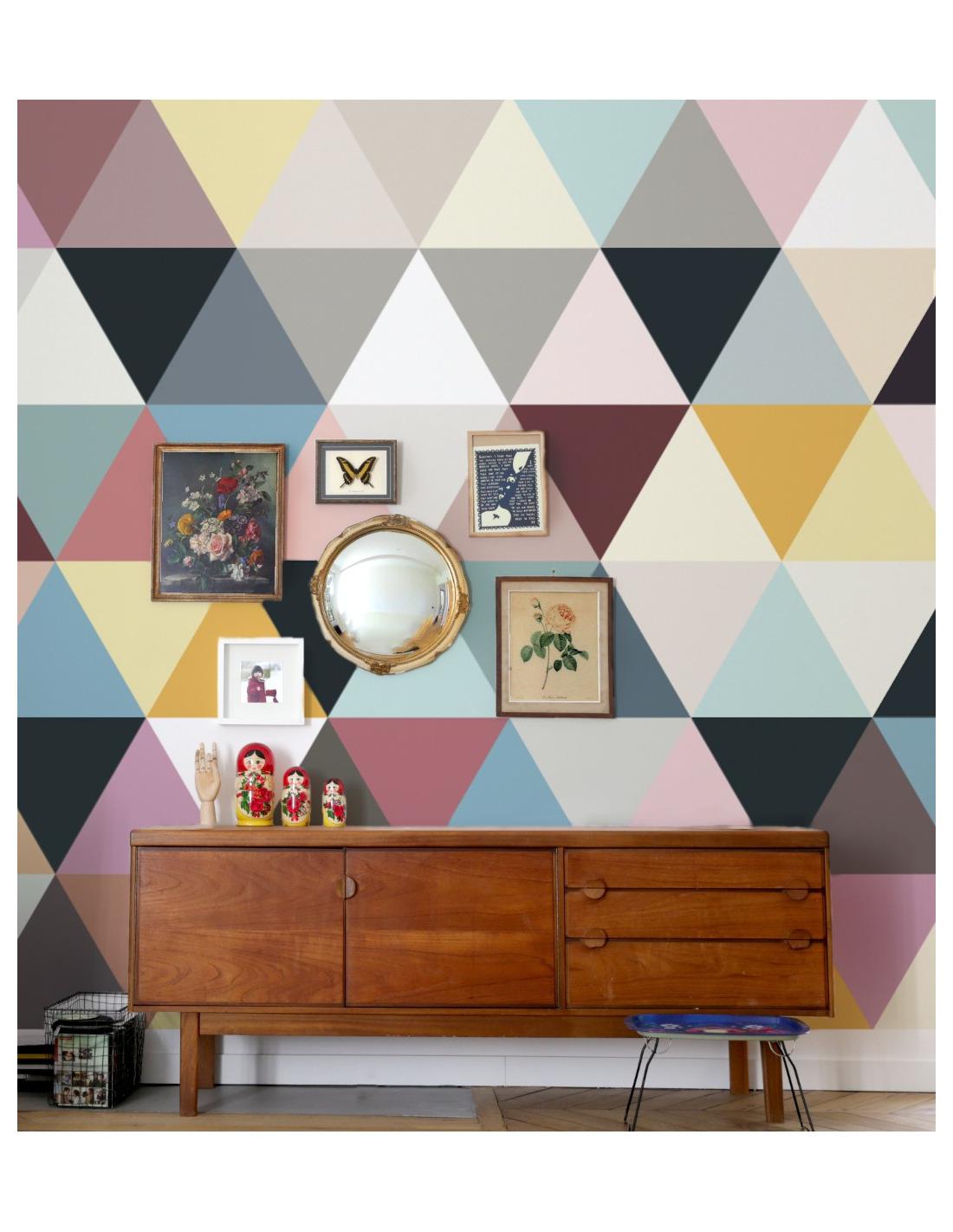 papier peint design intiss mosaic soft au design g om trique. Black Bedroom Furniture Sets. Home Design Ideas